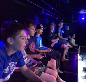 Kids at video game truck party in Pennsylvania