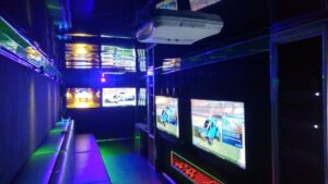 Inside of our Pennsylvania video game truck, trailer and game bus